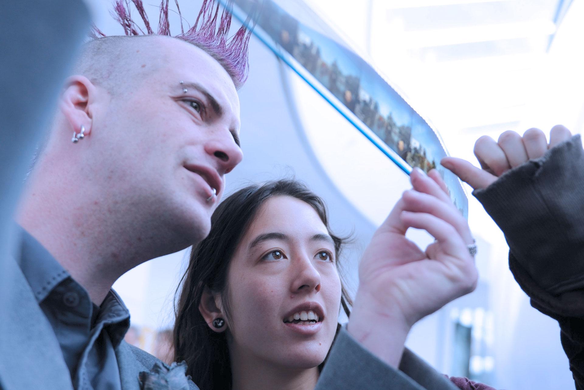 Cornish students look at film strip