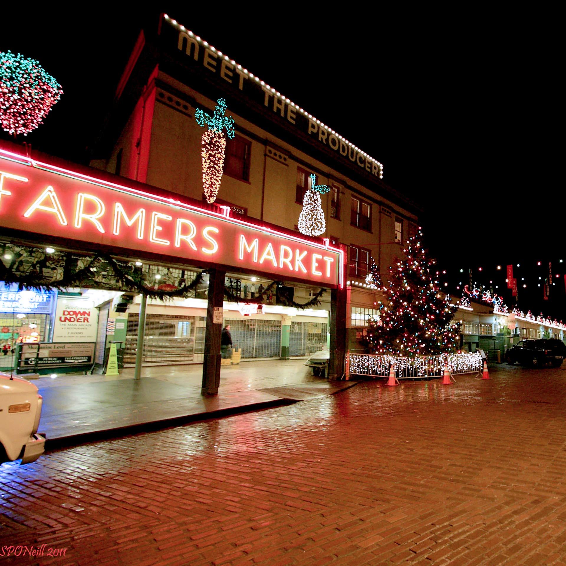 Neon farmers market sign