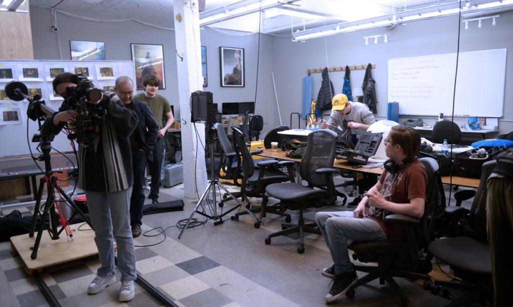 setting up film studio