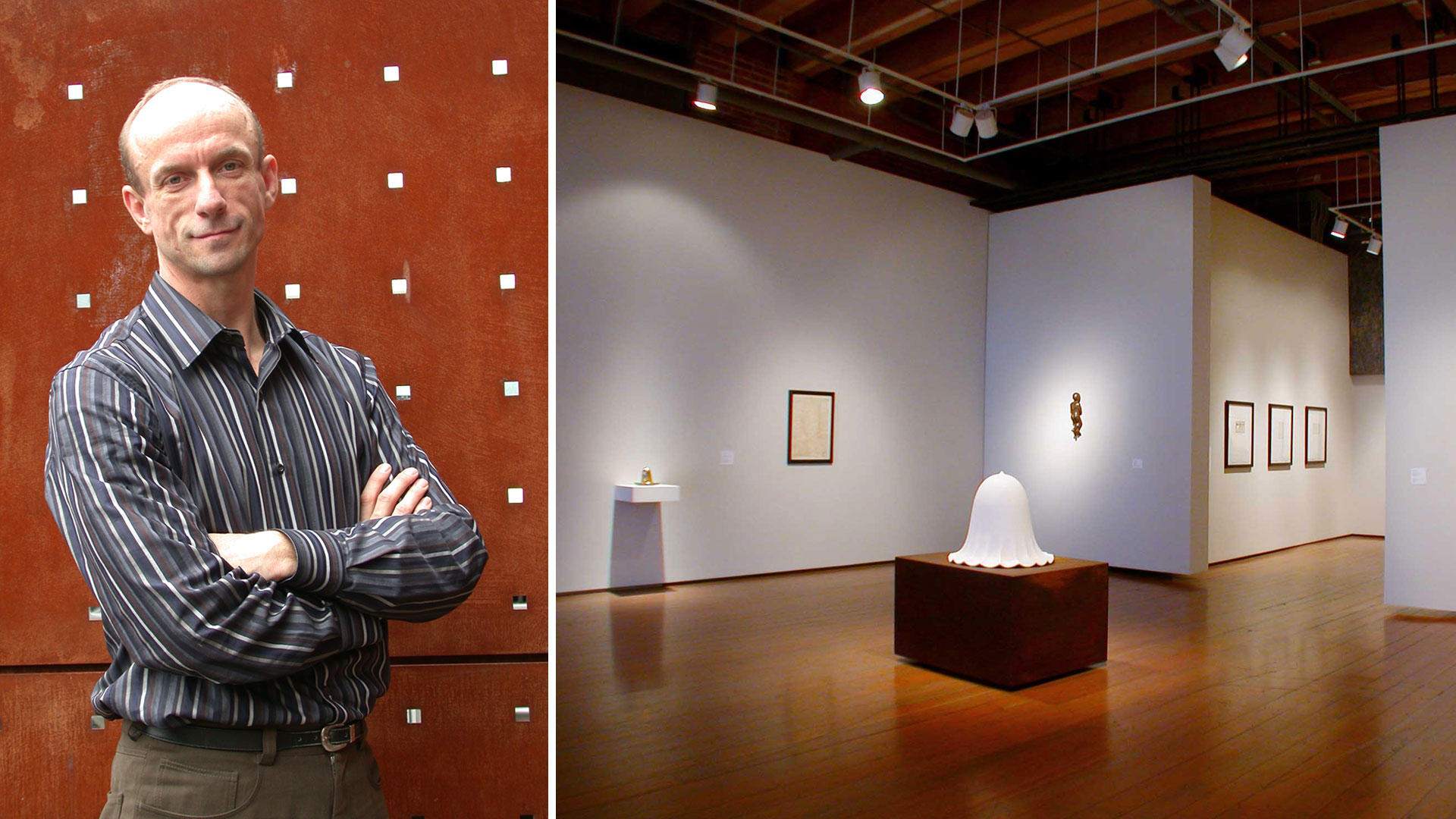 A photo of a man, and a photo of a gallery exhibit.