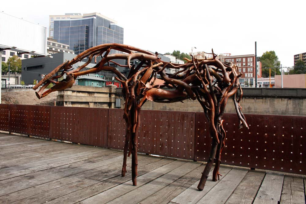 A sculpture of a horse.
