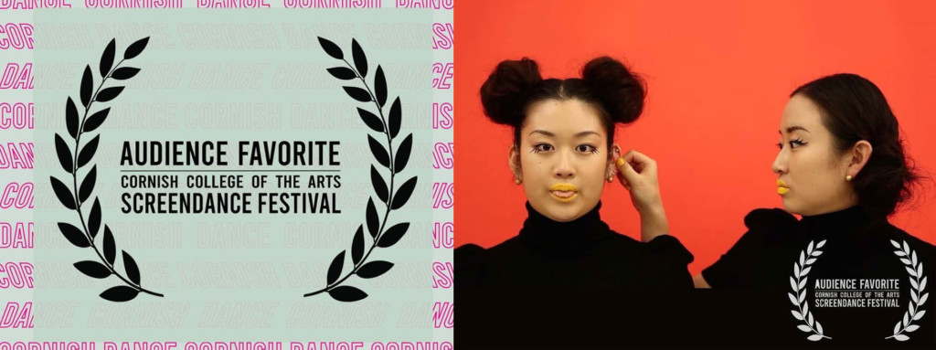 """Two images, left: """"Audience Favorite Award,"""" right: two people posing for a photo."""