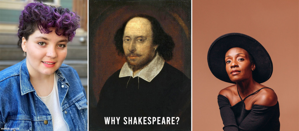 Three images (from left): a photo of a person, an oil painting of Shakespeare, and a portrait photo of a person.