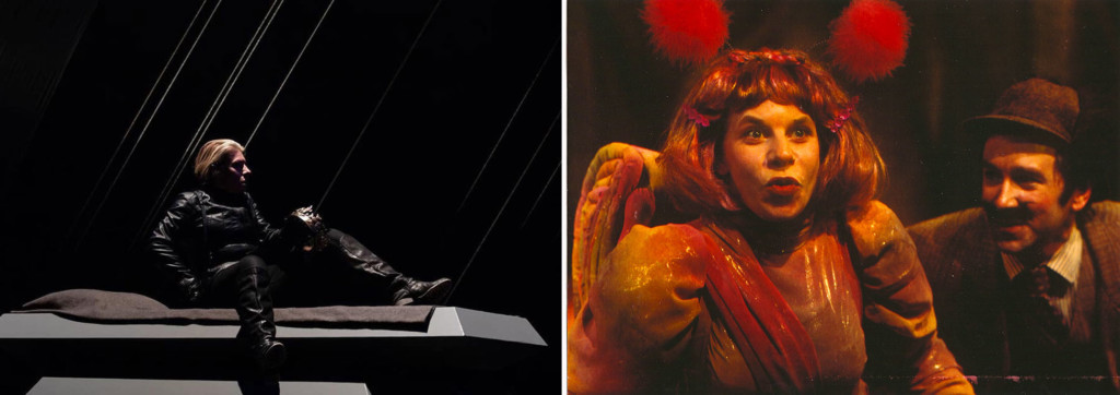 Two images (left) a person on a stage, (right) a two people in costume.