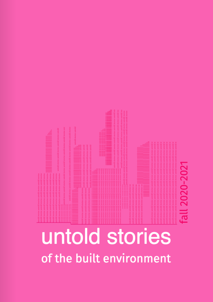 """The cover of a booklet """"Untold Stories of the Built Environment."""""""