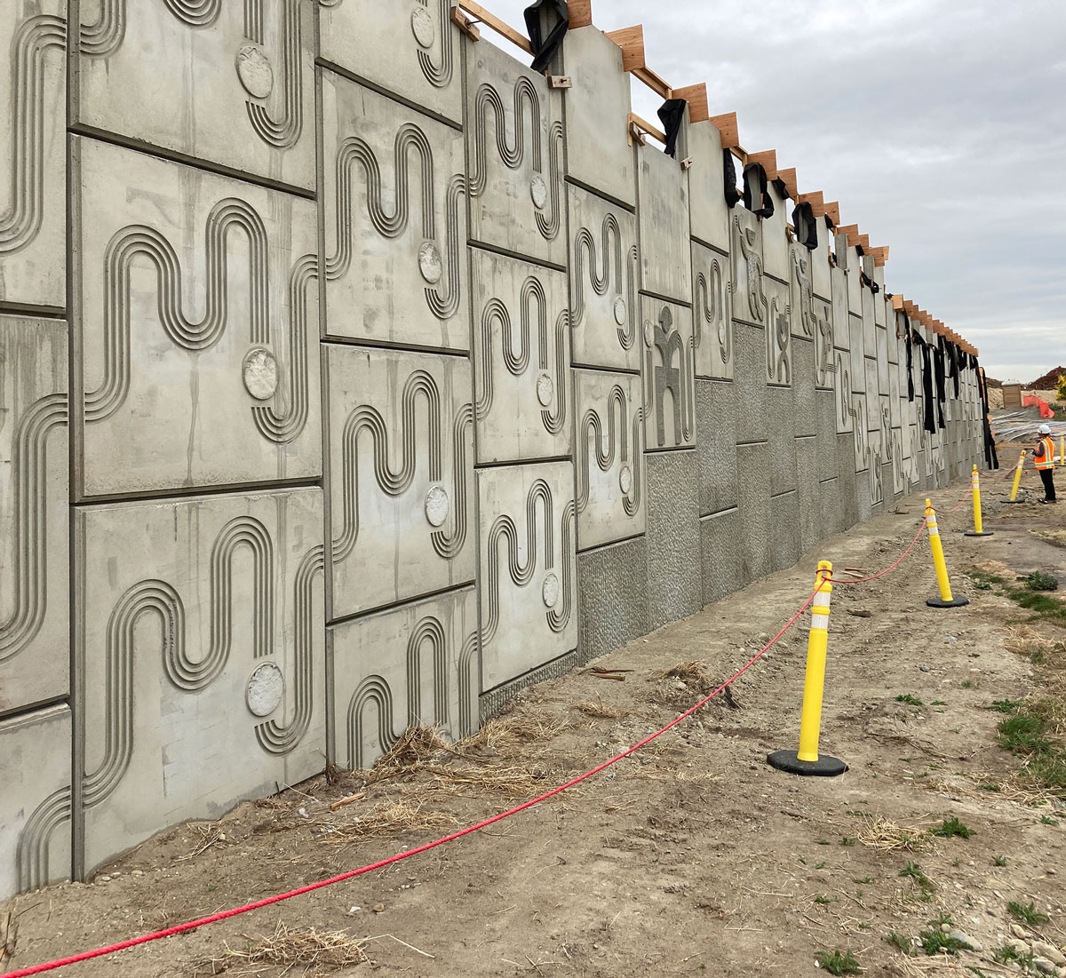 An art installation in a concrete wall.