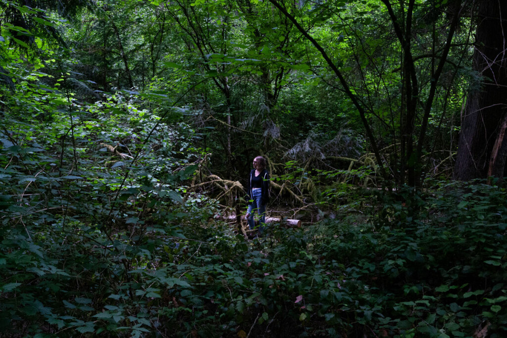 A person in a forest.